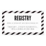 Black Carnival Stripes Registry Insert Card Business Card