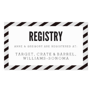 Black Carnival Stripes Registry Insert Card Double-Sided Standard Business Cards (Pack Of 100)