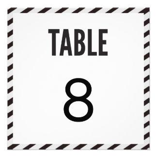 Black Carnival Stripes Table Number Card