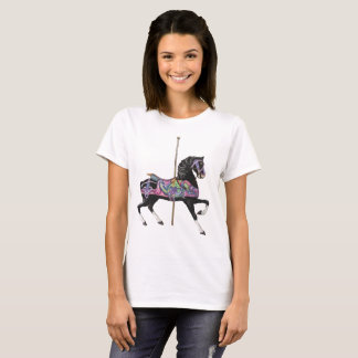 Black Carousel Horse T-Shirt