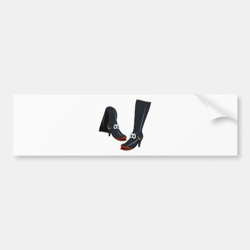 black cartoon boots bumper sticker