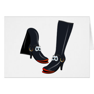 black cartoon boots card