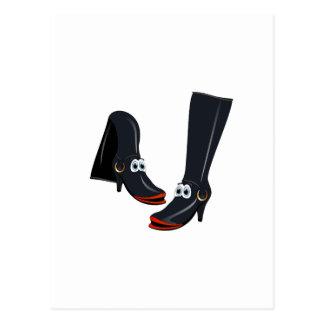 black cartoon boots post card