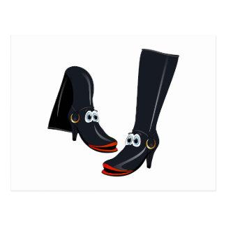 black cartoon boots post cards
