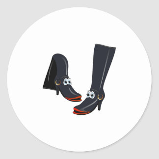 black cartoon boots sticker