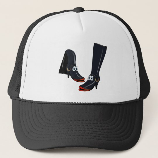 black cartoon boots trucker hat