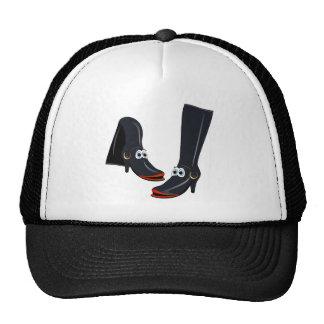 black cartoon boots trucker hats