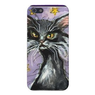 Black cartoon cat on purple night sky iPhone skin iPhone SE/5/5s Case