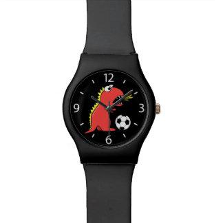 Black Cartoon Dinosaur Soccer Wristwatch