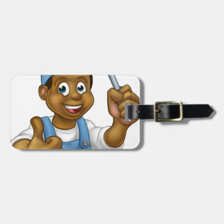 Black Cartoon Electrician Handyman Screwdriver Bag Tag