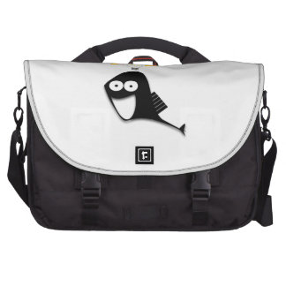 Black Cartoon Fish with an Idea Laptop Messenger Bag