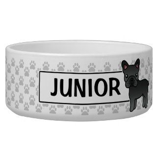 Black Cartoon French Bulldog Bowl