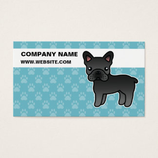 Black Cartoon French Bulldog Business Card