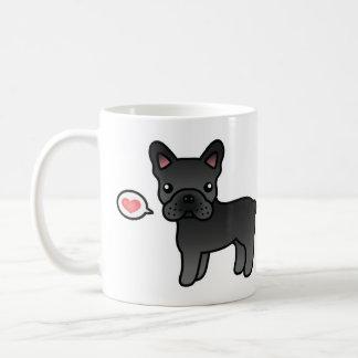 Black Cartoon French Bulldog Love Coffee Mug