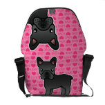 Black Cartoon French Bulldog Love Courier Bags