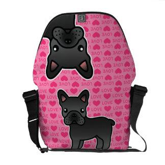 Black Cartoon French Bulldog Love Messenger Bag