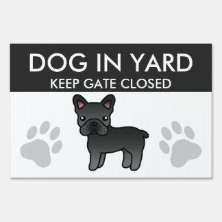 Black Cartoon French Bulldog Sign
