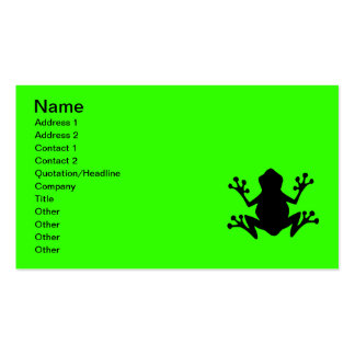 BLACK CARTOON FROG leaping icon logo graphics Business Card
