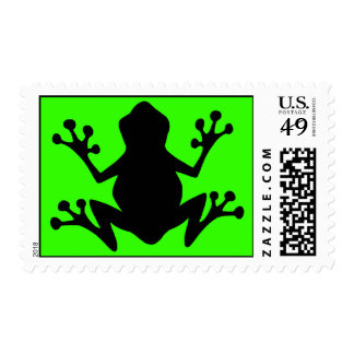 BLACK  CARTOON FROG leaping icon logo graphics Postage Stamps