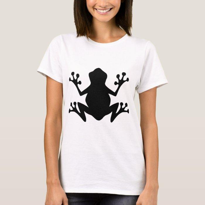 BLACK  CARTOON FROG leaping icon logo graphics T-Shirt