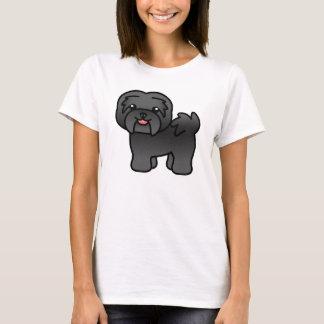Black Cartoon Havanese Dog T-Shirt