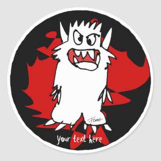 Black Cartoon Monster Personalized Label Classic Round Sticker