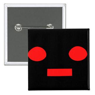 Black cartoon robot face customizable button