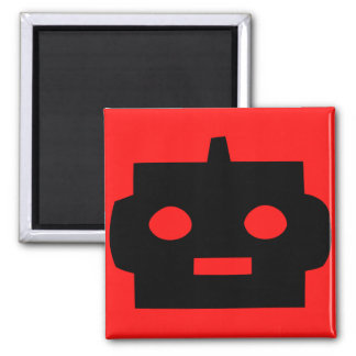 Black cartoon robot face customizable magnet
