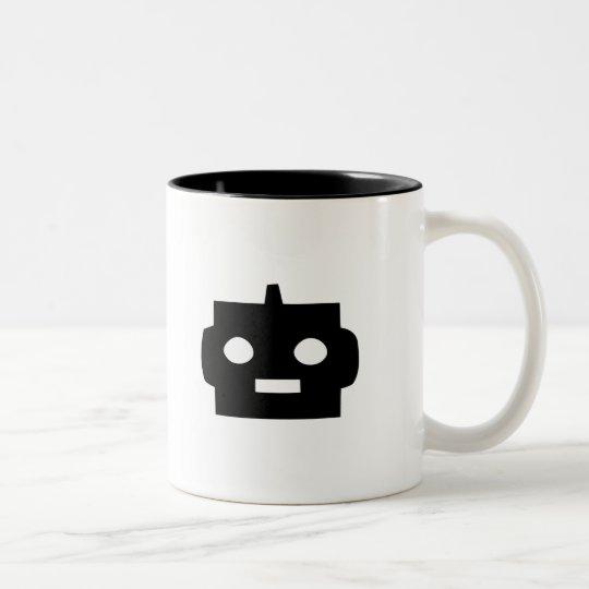 Black cartoon robot face customizable Two-Tone coffee mug