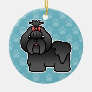 Black Cartoon Shih Tzu Ceramic Ornament