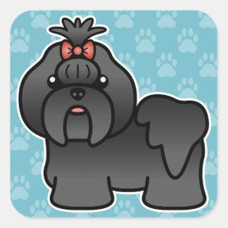 Black Cartoon Shih Tzu Square Sticker