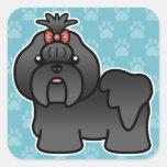 Black Cartoon Shih Tzu Square Stickers