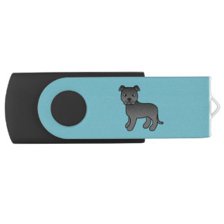 Black Cartoon Staffordshire Bull Terrier Flash Drive