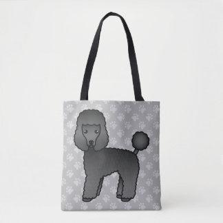 Black Cartoon Toy Poodle Dog Breed Illustration Tote Bag