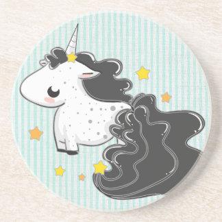 Black cartoon unicorn with stars coaster