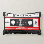 "Black Cassette Tape Lumbar Pillow<br><div class=""desc"">Do you miss your cassette tapes? Then this is the throw pillow for you. Makes a nice gift for anyone on any occasion.</div>"