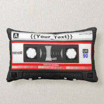 Black Cassette Tape Lumbar Pillow