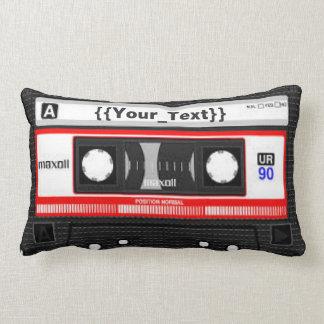 Black Cassette Tape Lumbar Pillow
