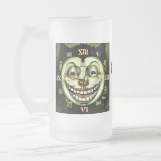 Black Cat 13 Clock Halloween Frosted Glass Beer Mug