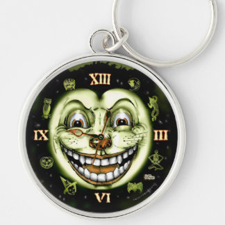 Black Cat 13 Clock Halloween Silver-Colored Round Keychain