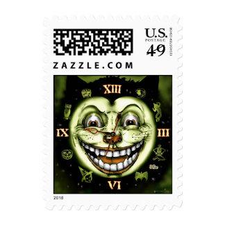 Black Cat 13 Clock Vintage Halloween Postage Stamps