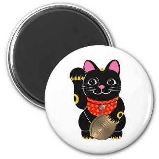 Black Cat 2 Inch Round Magnet
