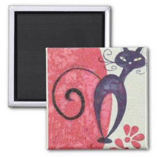 Black cat 2 inch square magnet