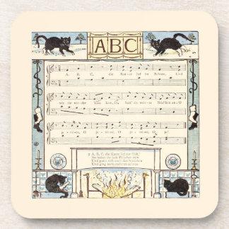 Black cat ABC nursery Drink Coaster