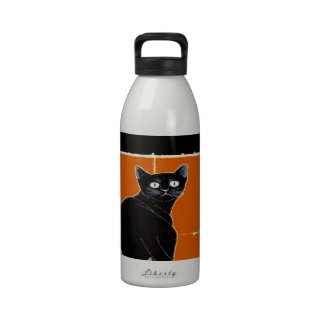 Black Cat, add text Water Bottle