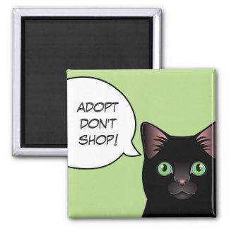 Black Cat Adopt Don't Shop Shelter Magnet