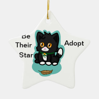 Black Cat Adopt Double-Sided Star Ceramic Christmas Ornament