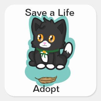 Black Cat Adopt Square Sticker