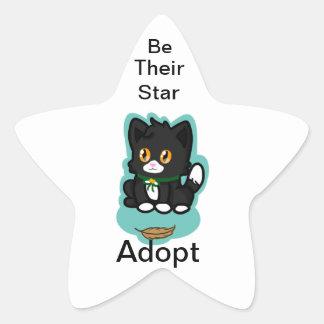 Black Cat Adopt Star Sticker