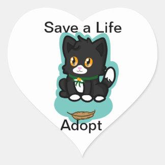 Black Cat Adopt Heart Sticker
